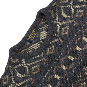 VTG L Brooks Brothers Chunky Knit Fair Isle Grey / Brown Crew Neck Wool Sweater