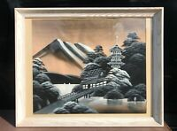 Asian Temple Oriental Japanese Or Chinese Art Print Landscape With Mountains