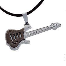Edelstahl Anhänger Gitarre Schmuck Kette Musik Instrument schwarz silber