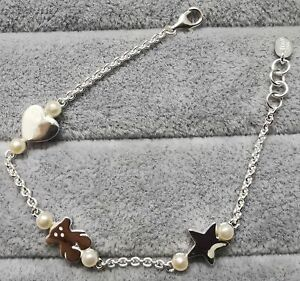 """TOUS 812451550 Silver and Pearl Real Sisy Bracelet 175mm/6.9"""""""