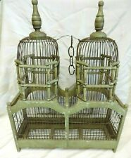 RARE ANTIQUE TWO DOME WOOD & WIRE VICTORIAN BIRD CAGE HAND MADE