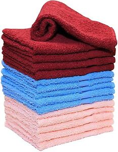 100% Cotton New Super Soft Small Towels 15 Pack Wash Cloths Blue Burgundy Pink
