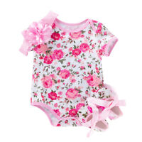 3PCS Girl Baby Infant Pagliaccetto tuta Tuta Party Set completo 3-24 mesi
