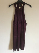 Women's Next Burgundy Satin Halterneck Tunic Dress, Size 14 Petite, BNWT