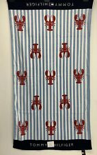 Tommy Hilfiger Red Lobsters white blue stripes pool beach bath towel Spell out