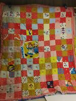 """VTG Raggedy Ann Andy 9 Patch Quilt Throw Blanket 43""""w x 52""""h Embroidered (6D1)"""