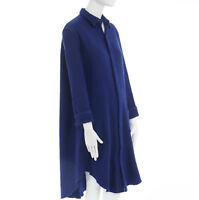 YOHJI YAMAMOTO blue boiled wool concealed button long length coat shirt jacket S
