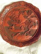 New listing Vintage Chinese Carved Lacquer And Cinnabar 9 Inch Plate