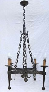 French Wrought Iron Chandelier Fleur de Lys 4 Lights Blacksmith