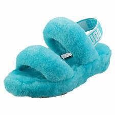 UGG Oh Yeah Womens Sky Blue Sheepskin Slippers Sandals