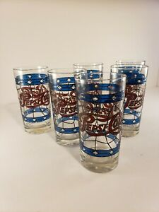 Vintage 70's Stained Glass Look Pepsi Glasses Set Of 6