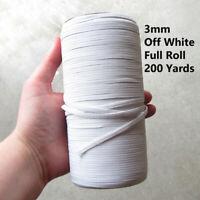 3MM WHITE * FULL ROLL* 200 YARDS FLAT ELASTIC STRETCH MASK CHRISTMAS DECOR UK