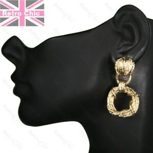"""2""""long GOLD FASHION EARRINGS door knocker style BOHO HOOP DROP rope twist metal"""