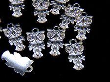 10 x 20mm Tibetan Silver Owl Charms Pendants Jewellery FREE UK P+P U182
