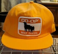 VTG CO-OP BEEF FEEDS USA YELLOW GOLD Hat Cap Snapback WITH BEEF PATCH Rare