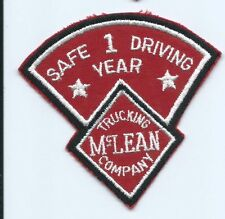 McLean Trucking Company 1 year safe driving driver patch 3-3/4 X 4 #641