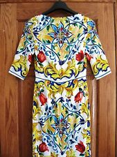 Dolce & Gabbana Blue Yellow Red Maiolica Tile Print 3/4Sleeves Sheath Dress AUTH