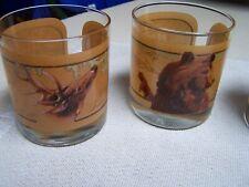 Set of 4 Vintge Avon Old Fashioned Rock Wildlife Glasses Bea 00004000 r Deer Pheasant Fish