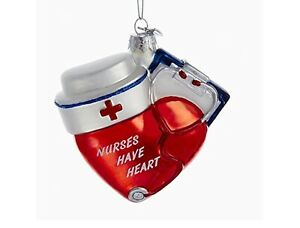 Noble Gems Nurses Have Heart Glass Red White Christmas Ornament in Gift Box NWT