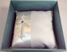 New White Rhinestone Wedding Ceremony Satin Ring Bearer Pillow W/Cross