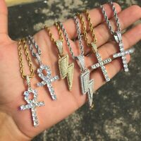 Hip Hop ANKH Lighting Bolt Solitaire Cross Pendant ICED Necklace Rope Chain