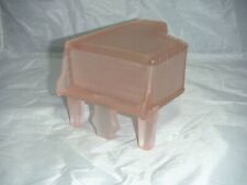 VINTAGE SILVESTRI PINK FROSTED GLASS PIANO VANITY TRINKET BOX