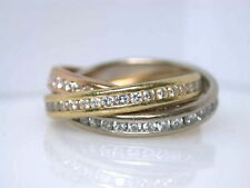 Echte Diamanten-Ringe im Dreierring-Stil aus mehrfarbigem Gold mit Brilliantschliff