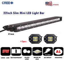 22'' Cree Slim Spot 100W LED Driving Light Bar+Dually Flush Mount LED Pod Lights