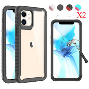 For iPhone 12 Pro Max Heavy Duty Bumper Rubber Armor Case Cover+Screen Protector