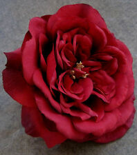 "5 1/2"" Red Rose Silk Flower Hair Clip,Wedding,Prom,Dance,Rockabilly,Bridal"