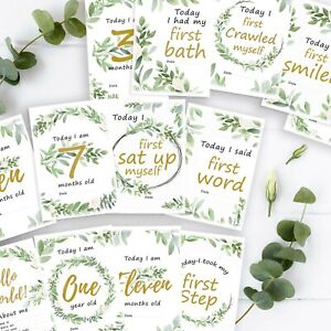 Baby Milestone cards Personalised sign Shower Party Game Predictions Bingo Gifts