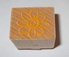 Flower Rubber Stamp Garden Floral Eight Petals Wood Mounted Crafts #1
