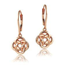 Rose Gold Tone over 925 Silver Love Knot Flower Dangle Leverback Earrings