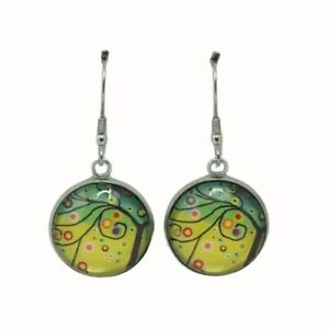 ROUND GLASS STAINLESS STEEL HOOP DROP EARRINGS 18MM WHIMSICAL TREE YELLOW GREEN