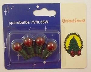 4 Red Push In Spare Bulbs for 140 Berry Light Set 7v 0.35w (S5)