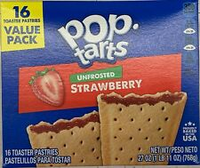 NEW KELLOGGS POP TARTS UNFROSTED STRAWBERRY 27 OZ (768g) BOX 16 TOASTER PASTRIES