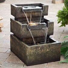 Water Fountain LED Lighting Indoor Outdoor Zen Garden Patio Deck Foyer 3 Tier