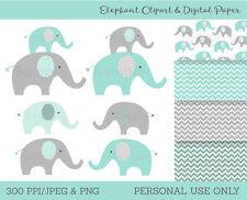 Mint Green & Grey Chevron Elephant Chevron Pattern Clipart & Digital Paper