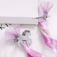 Girls Kids Unicorn Hair Clips Long Wig Ponytails Glitter Hair Bows Gift Cxz