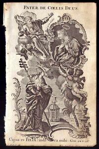 PATER de COELIS DEUS (Heaven Father) Holy Print. Antique COPPER Etching KLAUBER