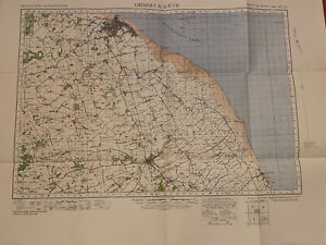 Map of Grimsby & Louth WW2 WAR 1940 Ordnance Survey Linen Backed Sheet #40