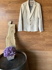 Banana Republic Womens 4 Blazer Jacket Double Button Beige Gold Buttons Career