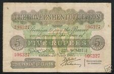 CEYLON 5 Rupees P-23 1937 - 1939 ELEPHANT RARE Sri Lanka Money Bill 1 BANK NOTE