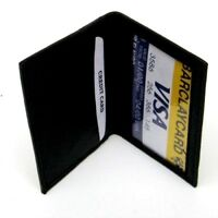 Black Mens Leather Bifold Wallet Window ID License Credit Cards Holder