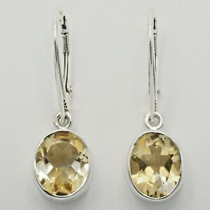Genuine Natural Yellow CITRINE Oval Earrings 925 STERLING SILVER Leverback #15