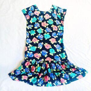 Vintage 80s ROSE Patterned POLKA DOT Floral Indie 1980s Ra-Ra Dress Size 16 L