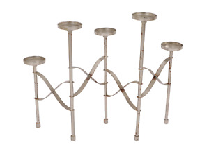 Vintage 60s Mid Century Modern MCM Steel 5 Piece Rotating Candle Holder Silver