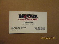Wchl Vintage Defunct Cynthia King Director Administration Hockey Business Card