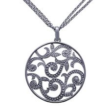 BRAND NEW 0.12 CT. T.W. Diamond Medallion Pendant in Sterling Silver (I, I1)
