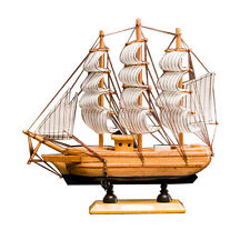 "9"" Wooden Sailboat Model Ship Model 100% Handmade Wood Sailing Boat Original"